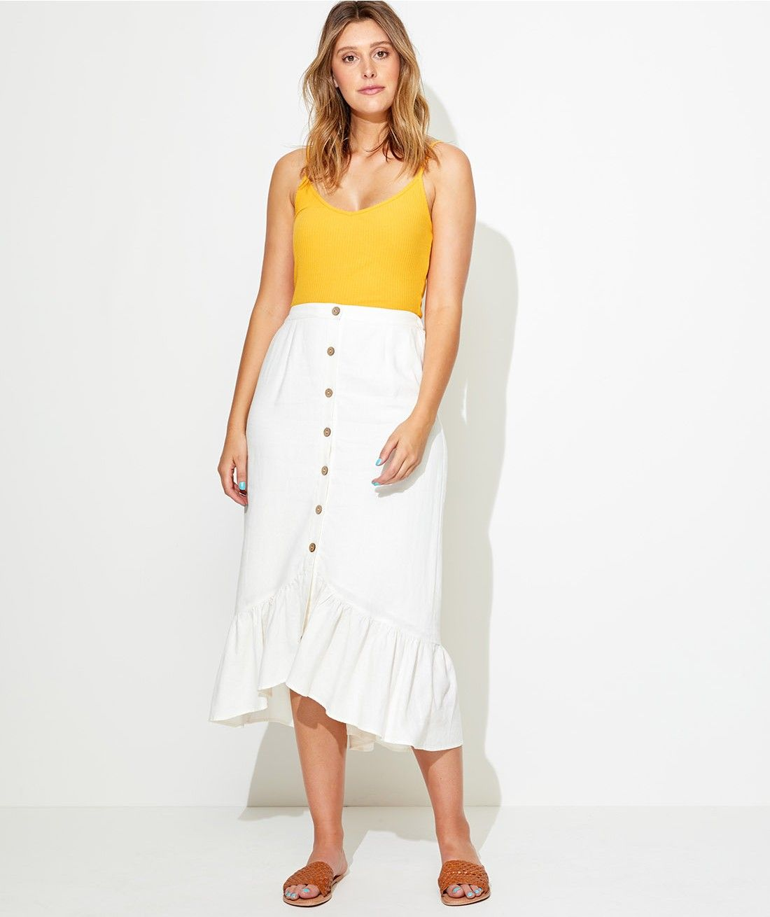 7a924c09335 Linen Edit - Ruffle Hem Linen Midi Skirt - Clothing - Sportsgirl ...