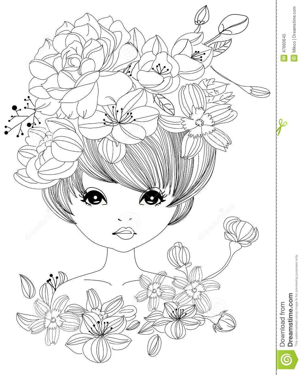 Pretty girl and flower | DIGI STAMPS | Pinterest | Colorear, Dibujo ...