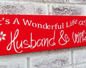 """Christmas Wedding, Wedding Signs, Winter Wedding """"It's a wonderful life as Husband and Wife""""  Customized bride groom name date opt avail"""