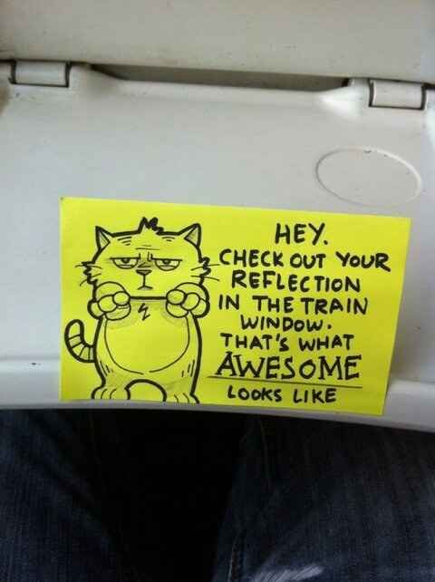 Someone Has Been Leaving Cute Motivational Post-It Notes On The Train