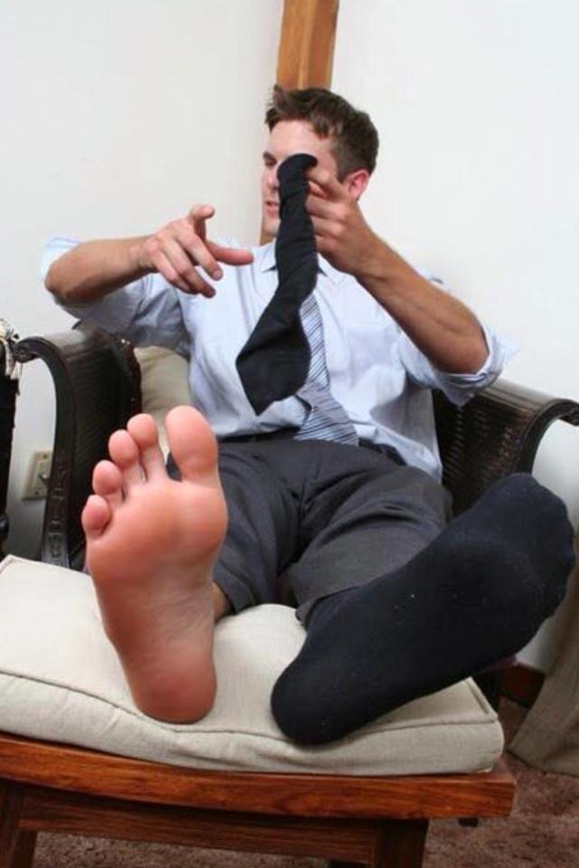 Pantyhose pedicure boy