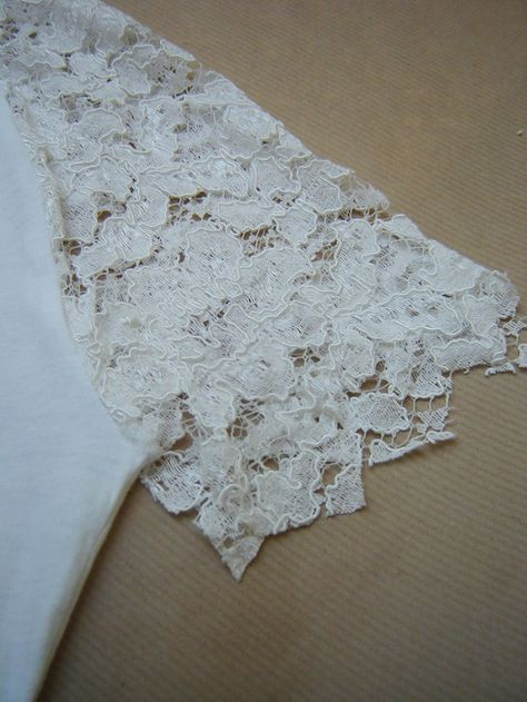How to embellish tee shirt shoulders with lace diy by virginie white lace virginie peny do it yourself projects personal style solutioingenieria Image collections