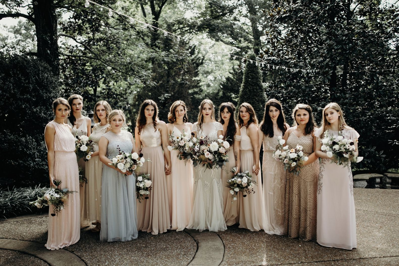 Gatsby inspired wedding different color bridesmaid dresses gold different color bridesmaid dresses gold and blush bridesmaid dresses ombrellifo Images