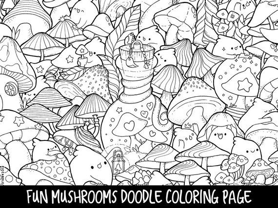photo about Printable Kawaii Coloring Pages titled Mushrooms Doodle Coloring Web site Printable Adorable/Kawaii