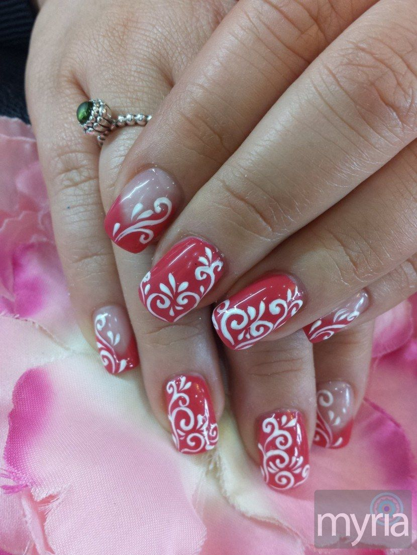 Raspberry gel polish with freehand gel nail art Gel nail art