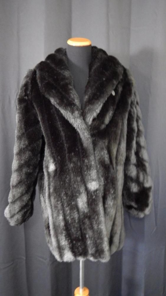 Monterey Fashions Fake Fox Fur Jacket Women s Size 12 BLACK     Monterey Fashions Fake Fox Fur Jacket Women s Size 12 BLACK  Monterey   BasicCoat