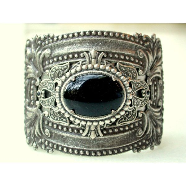Medieval Silver Cuff - Black Onyx Gemstone - Moroccan Style ($80) ❤ liked on Polyvore