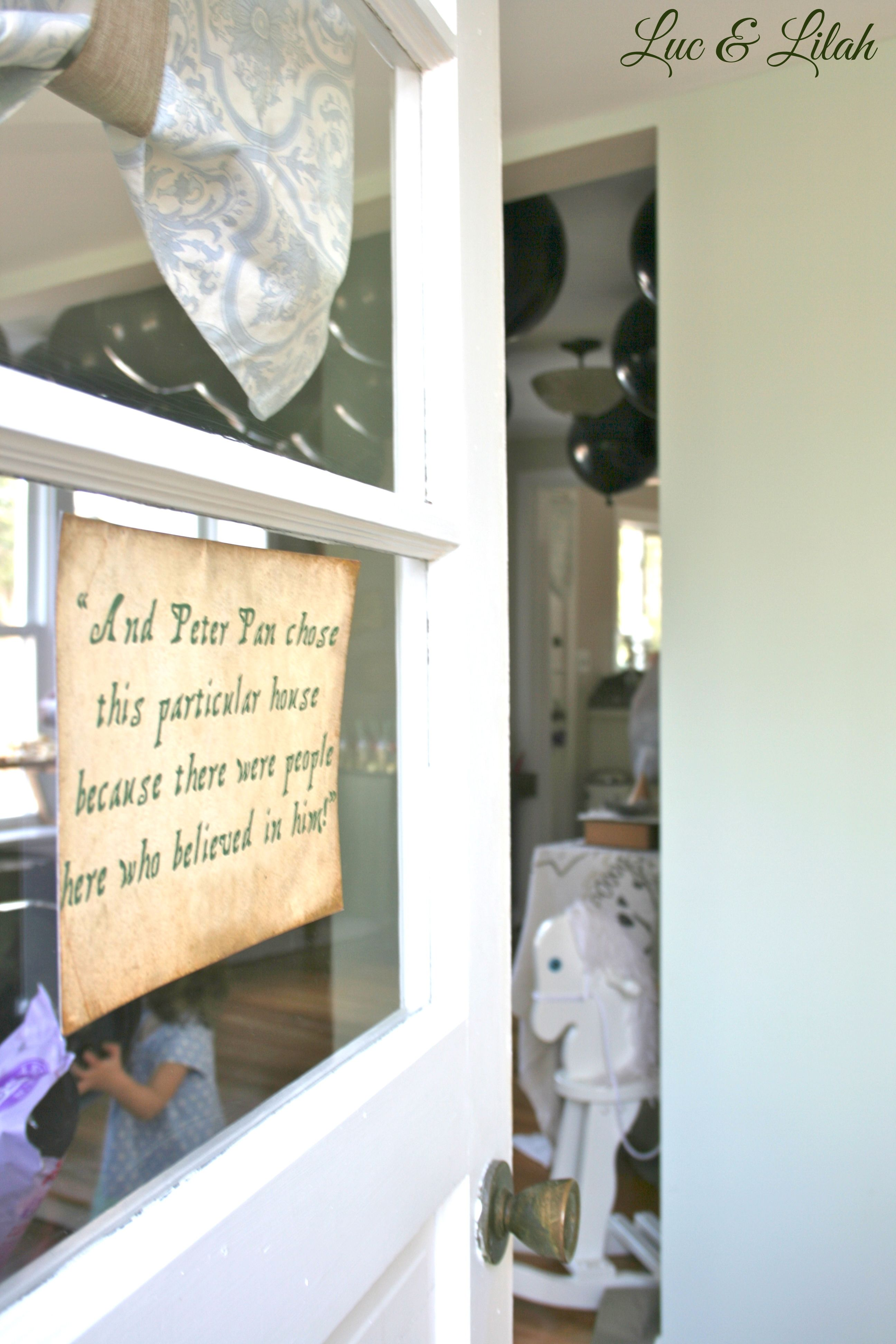 Front Door With Opening Narrator Quote To Peter Pans Movie At Peter