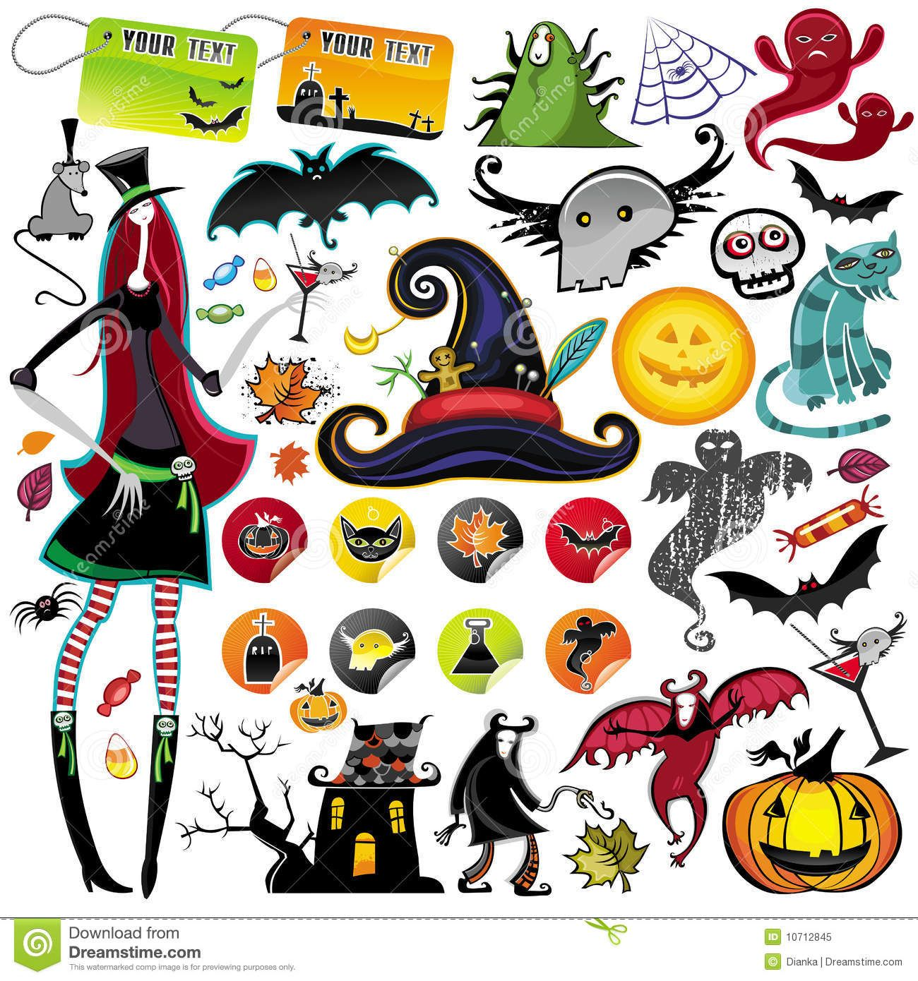 Halloween vector elements icon set, collection, with