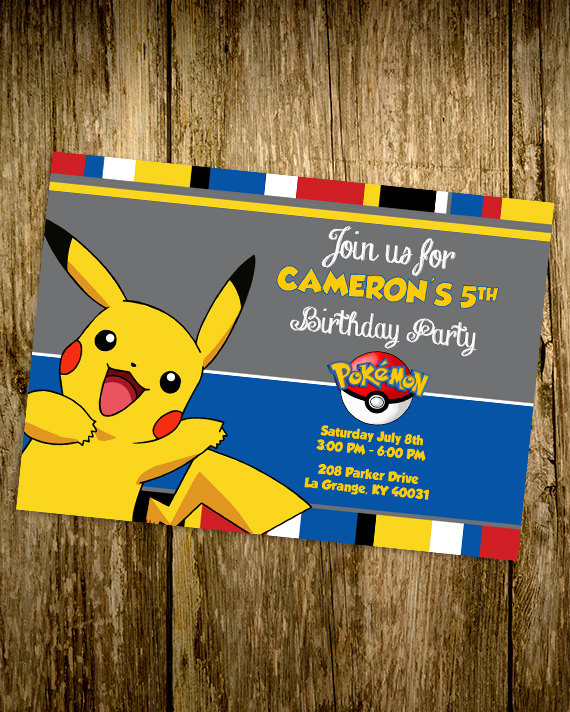 Printable Pokemon Pikachu Custom Birthday Invitation Girls Boys Birthday Party 4x6 Poke Ball Pokemon Pokemon Birthday Pokemon Party Pokemon Themed Party