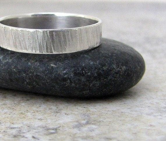 tree bark ring mens hammered silver wedding ring by silversmack