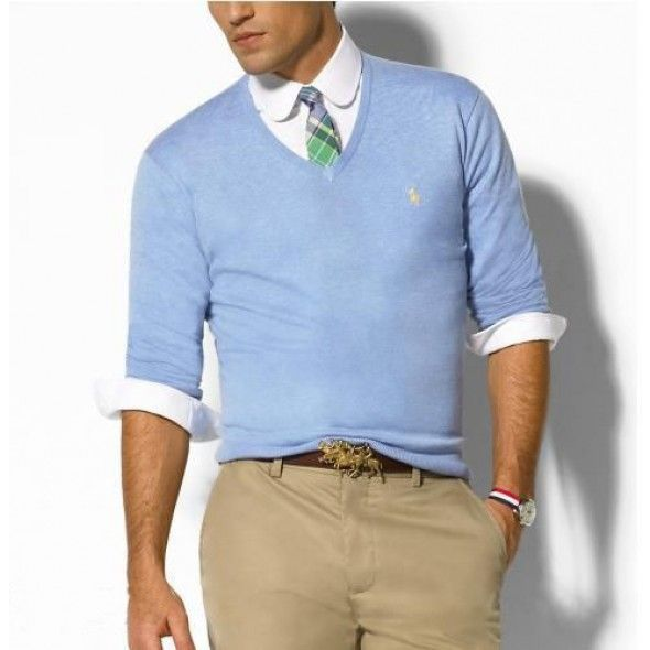 Ralph Lauren Light Blue Soft Mesh Men Sweaters http://www.ralph ...