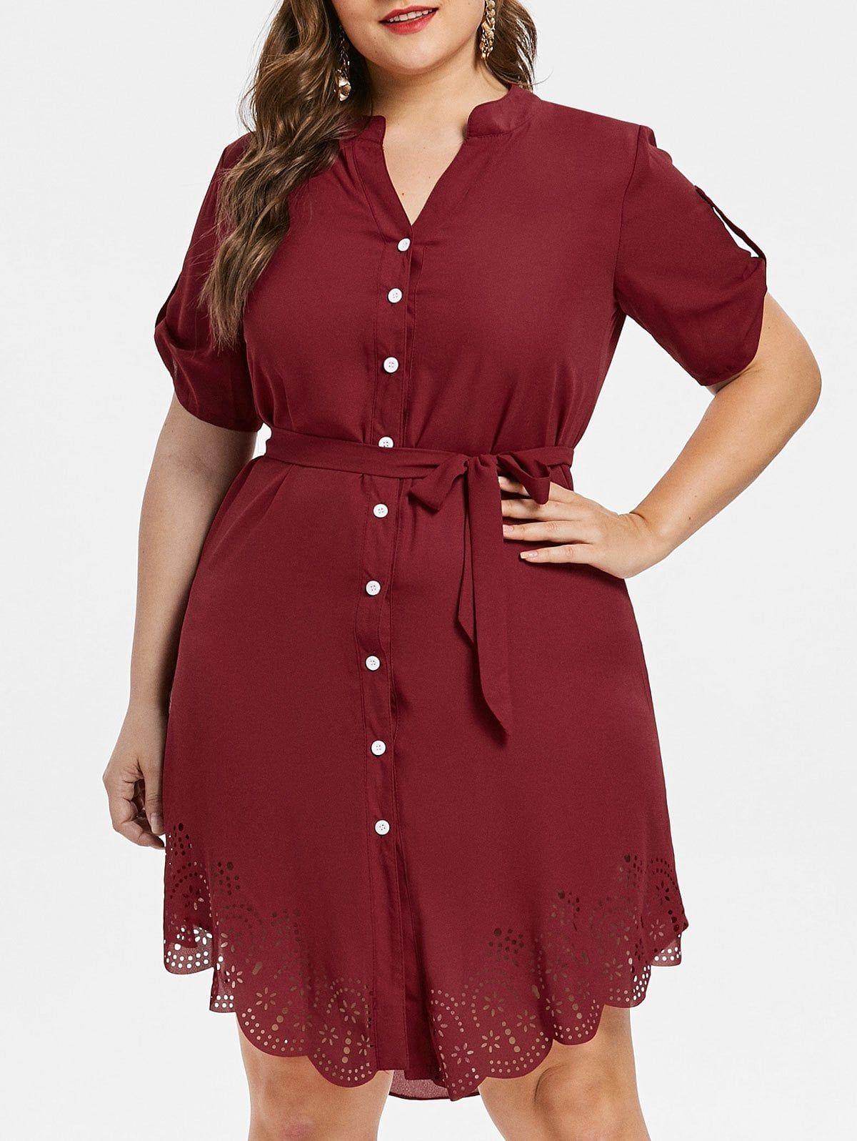 2c68e9c4333 Plus Size Asymmetrical Shirt Dress - RED WINE 5X