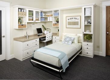 Antique White Office With Twin Wall Bed   Transitional   Home Office    Portland   Portland Closet Company