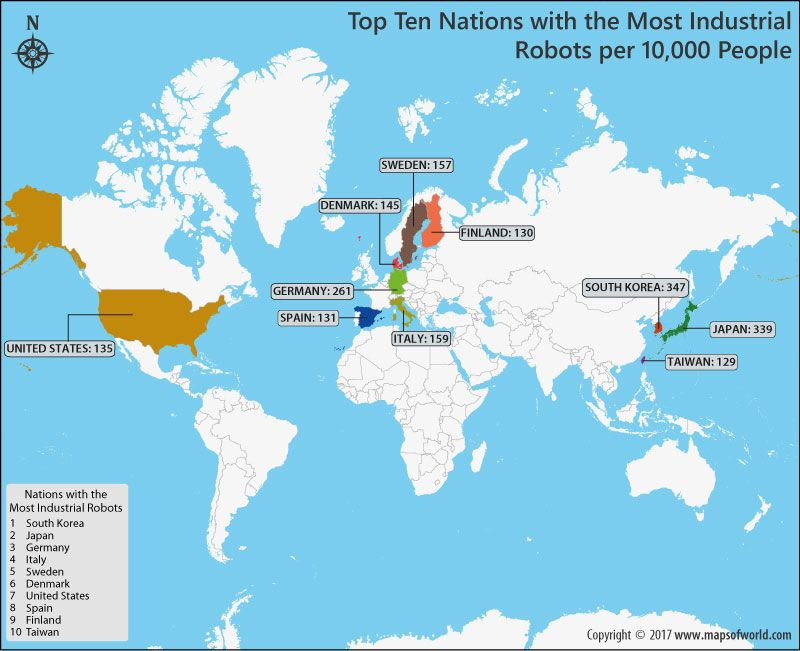 Top 10 Countries With Most Robot Density Map World Europe Map