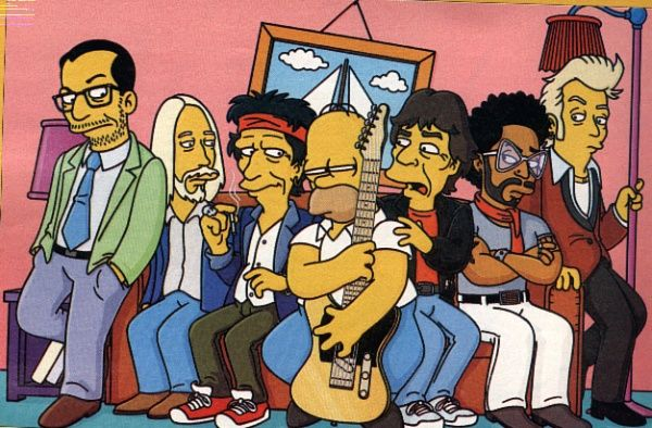 Homer Simpson, Elvis Costello, Tom Petty, Keith Richards, Mick Jagger, Lenny Kravitz and Brian Setzer.
