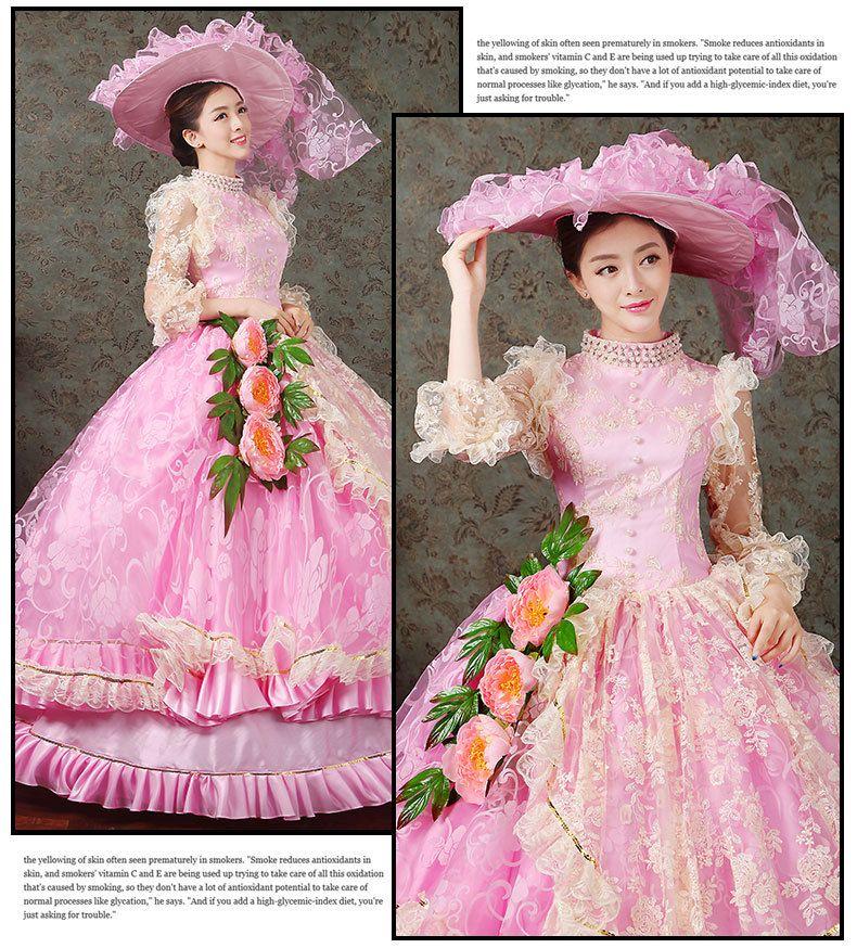 100% real luxury rosa de encaje bordado vestido medieval con el ...
