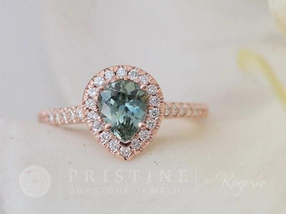 Pear Sapphire Engagement Ring In Blue Green Sapphire In Rose Gold Diamond Ha Green Sapphire Engagement Ring Green Sapphire Engagement Gemstone Engagement Rings