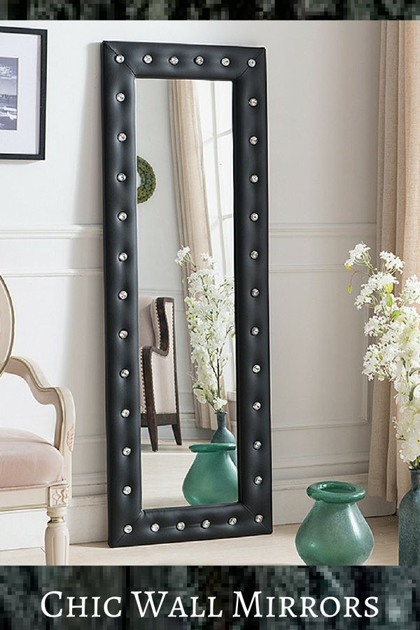 Pilaster Designs Black Leather-Frame Mirror | Frame mirrors ...