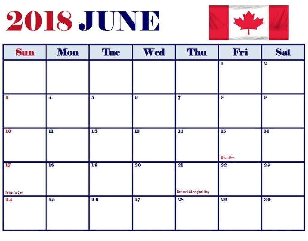 June 2018 Calendar Canada Word Templates Word template