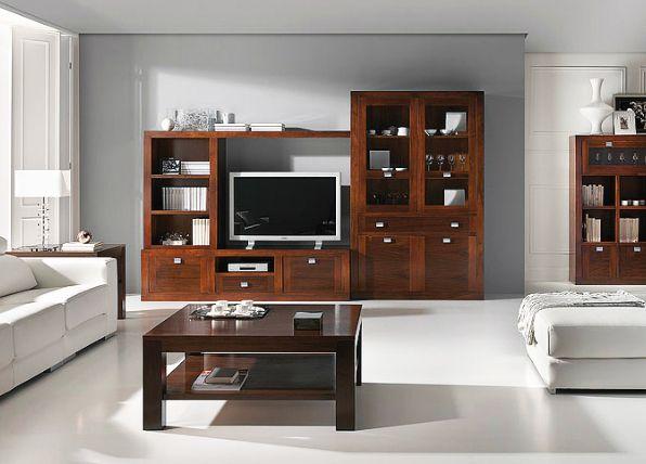 Muebles de salon con vitrina y mueble tv nogal en 2019 - Nogal americano muebles ...