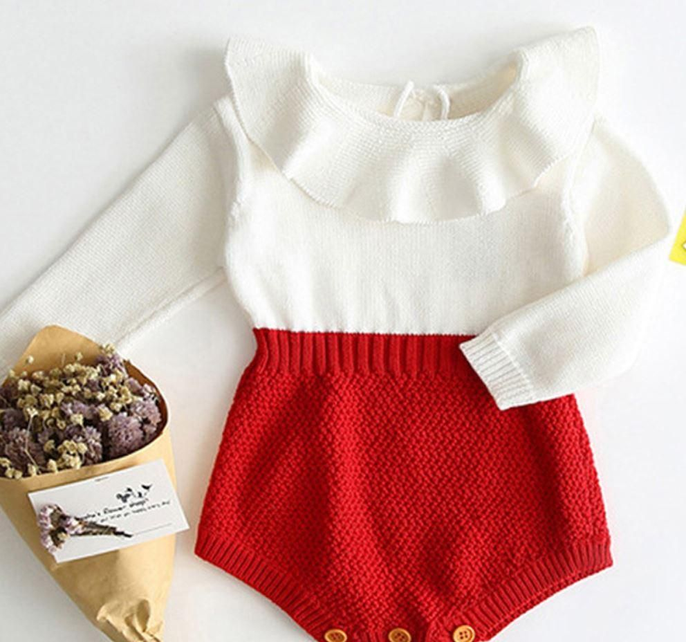 girls red and white sweater romper, infant sweater romper, infant