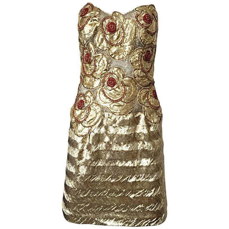Vintage Christian Lacroix Couture Gold Silk Lame Beaded Strapless 1990s Dress