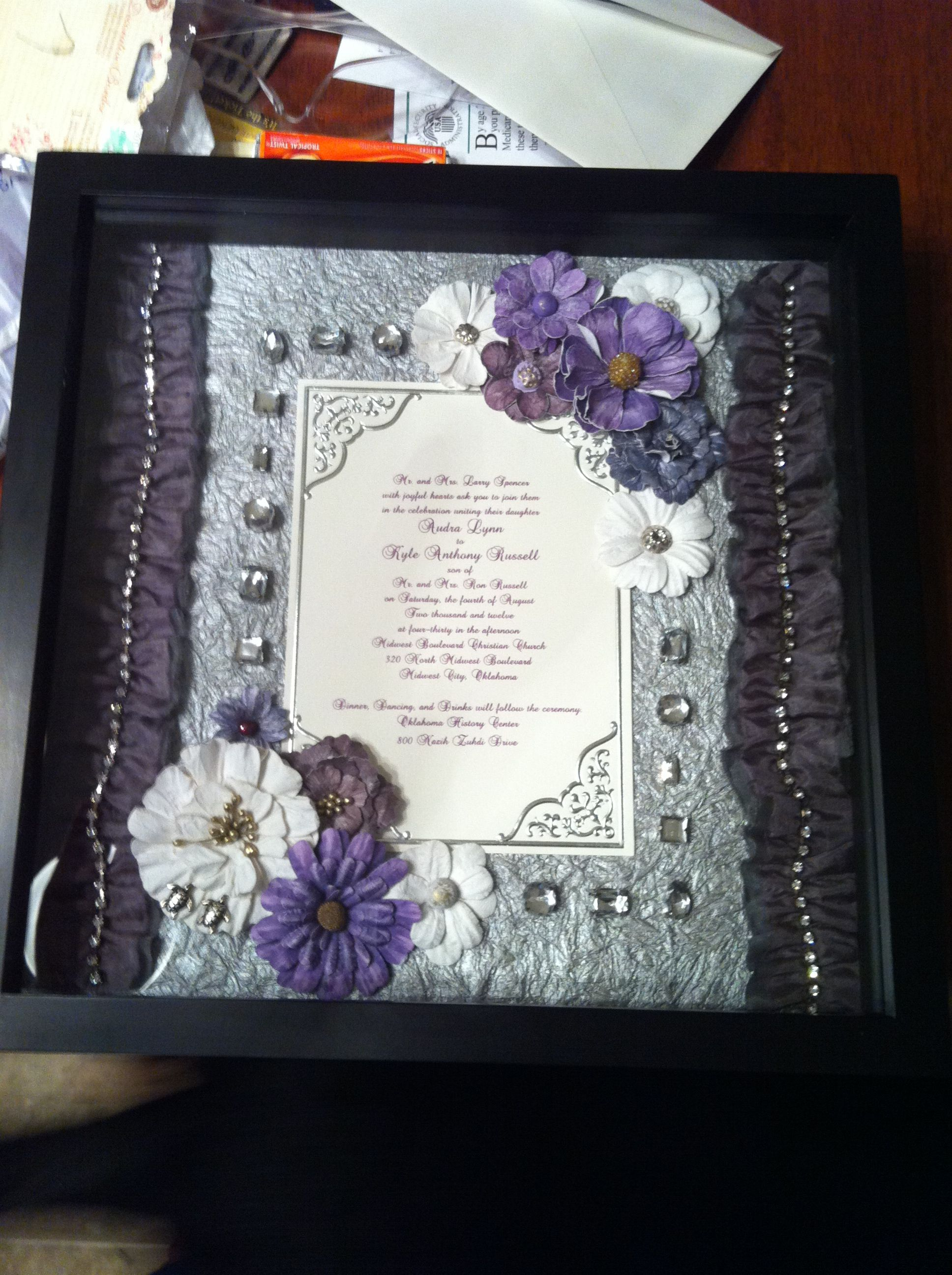 Shadow box i made for a friends wedding present purple and pewter