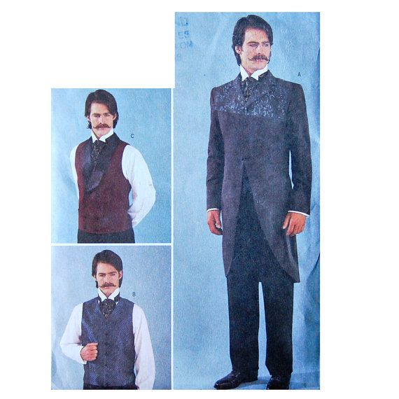 Men\'s Victorian Jacket and Vest Sewing Pattern - Size Small, Medium ...