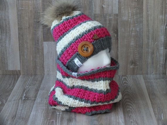 Made to order, all Eskimo hat and snood handknitted raccoon fur ...
