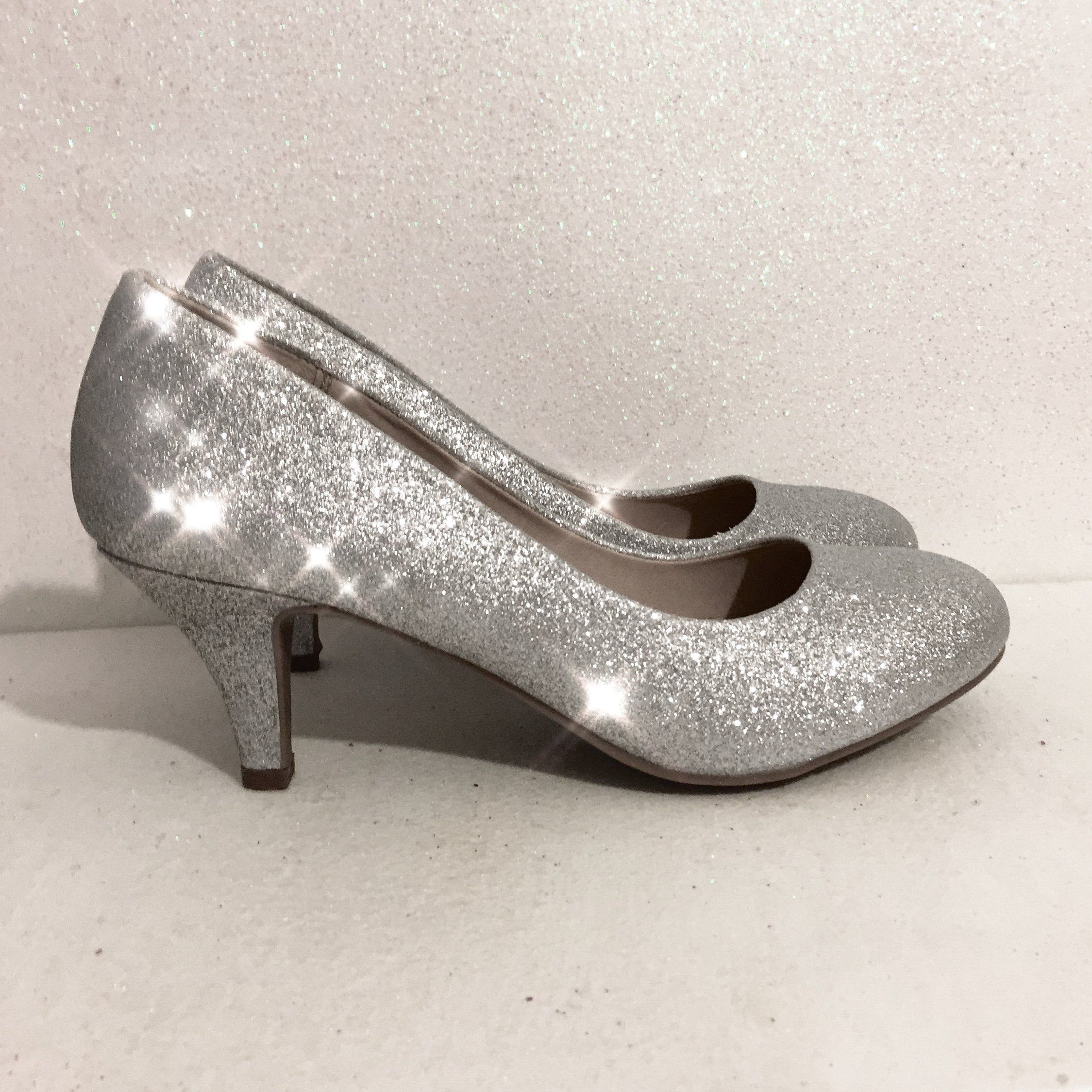 Sparkly Silver Glitter low Heels
