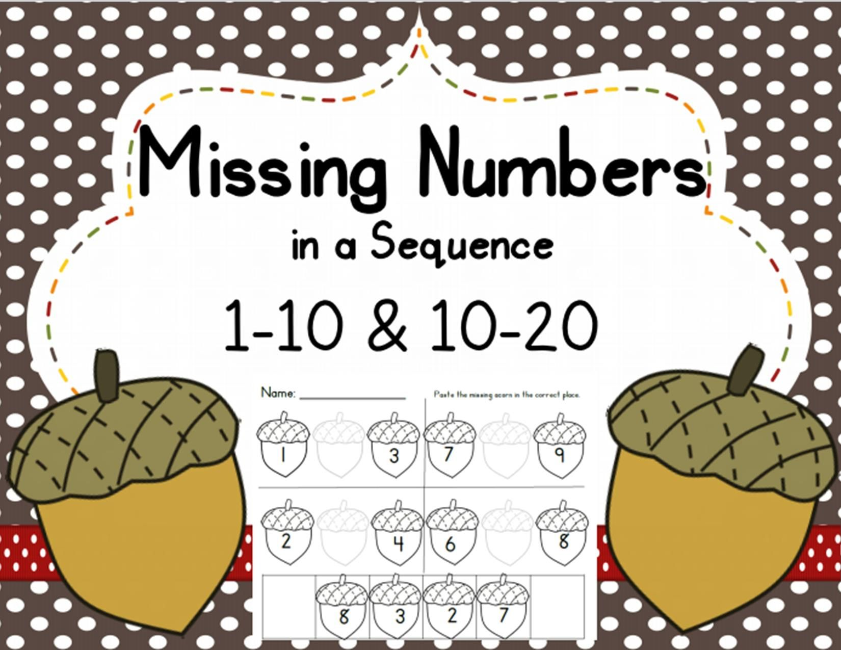 Missing Numbers In A Sequence 1 10 And 10 20 Fall Common Core Aligned