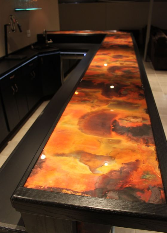 Rojo Y Negro Copper Bar Top. Use This For Shower Panel. Hammer Around Panel