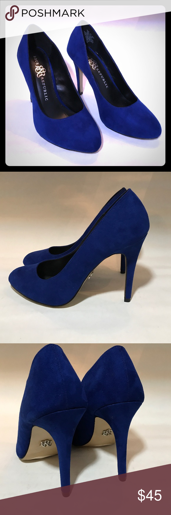 "Rock & Republic Heels size 7.5 Beautiful ""Gwen Blue"" pumps by Rock & Republic. New with box. 4 1//2"" heel. Rock & Republic Shoes Heels"