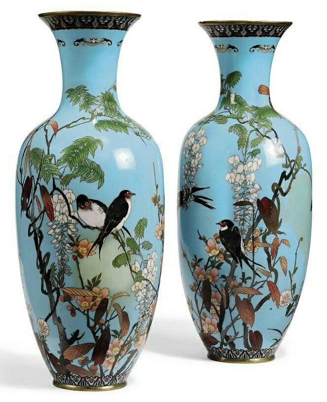 A Pair Of Japanese Cloisonne Vases Meiji Period Late 19th Century