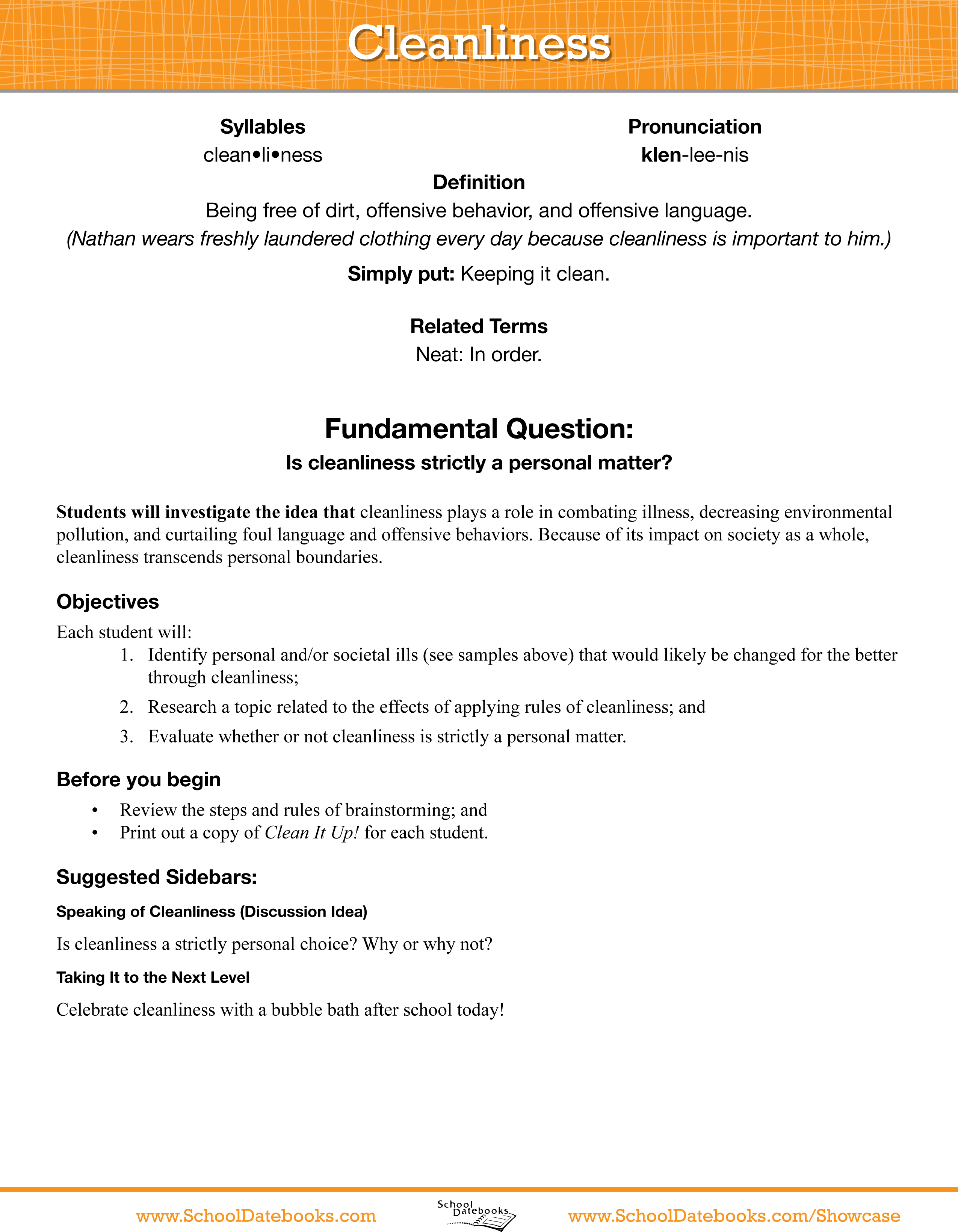 Character Educationschool Datebooks