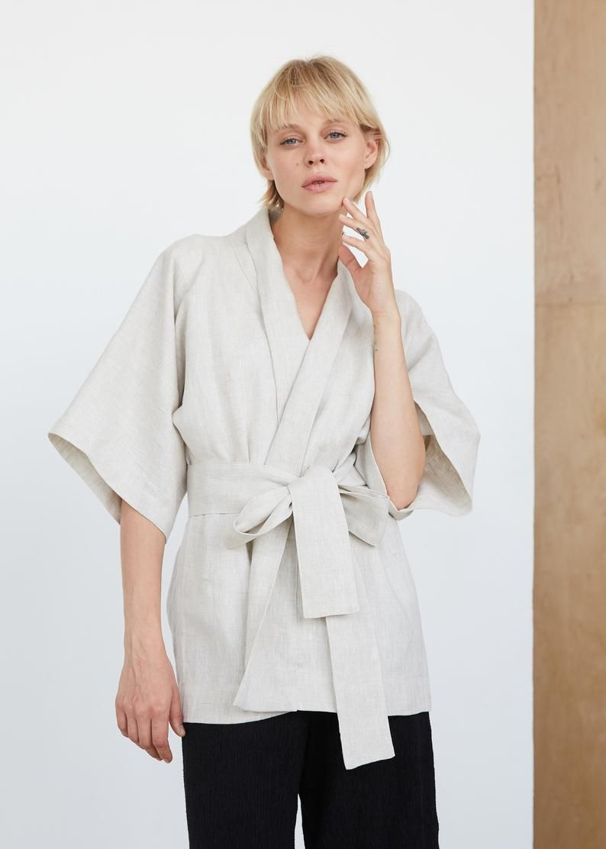 linen blazer pure linen jacket Wrap style linen jacket with belt