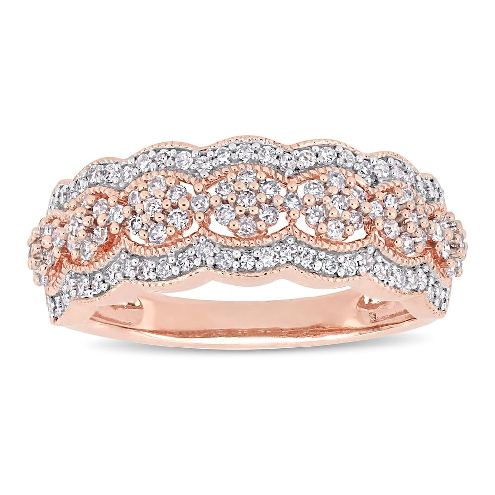 Stella Grace 10k Rose Gold 1 2 Carat T W Diamond Flower Ring Gold Band Diamond Ring Pink Tourmaline Engagement Ring Flower Ring