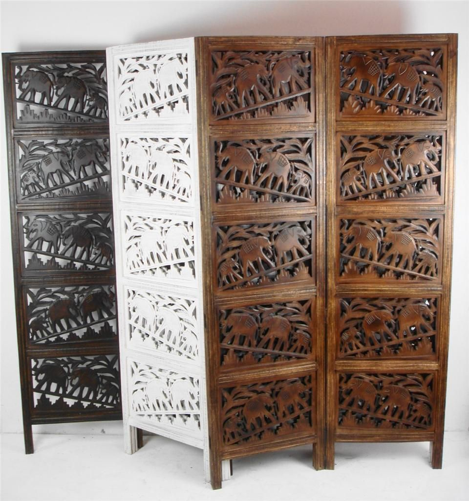 4 Panel Hand Carved Indian Screen Wooden Elephant Screen Room ...