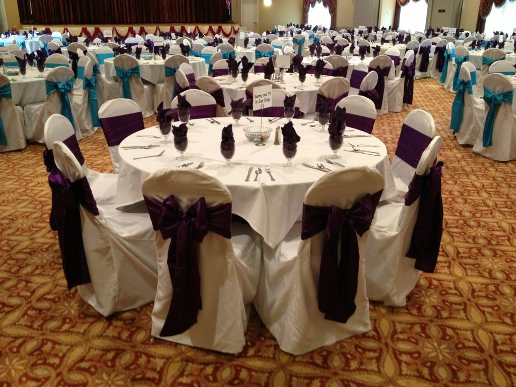 teal chair covers for wedding lounge beach purple and turquoise sashes on white