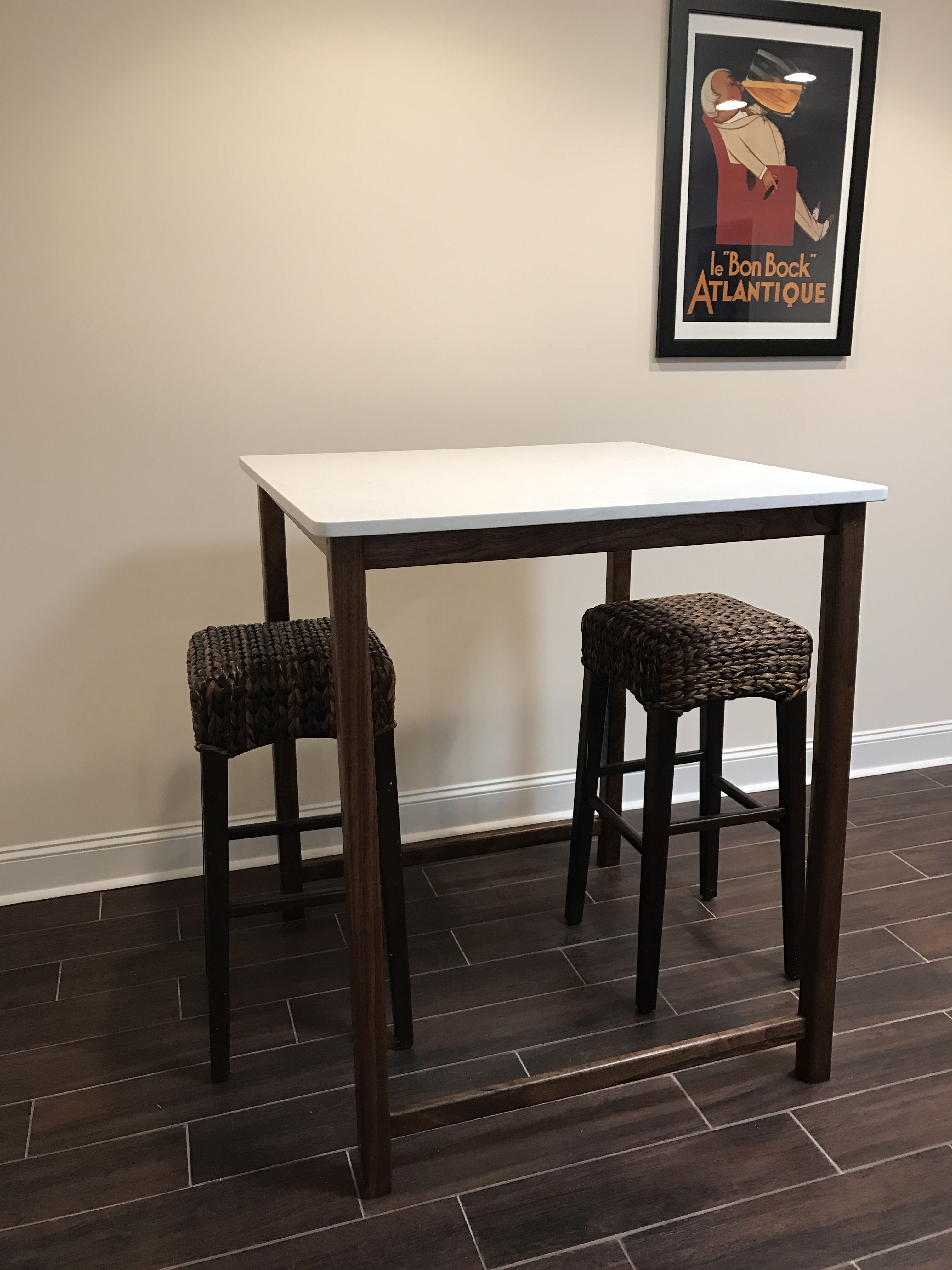Walnut High Top Table With Quartz Top