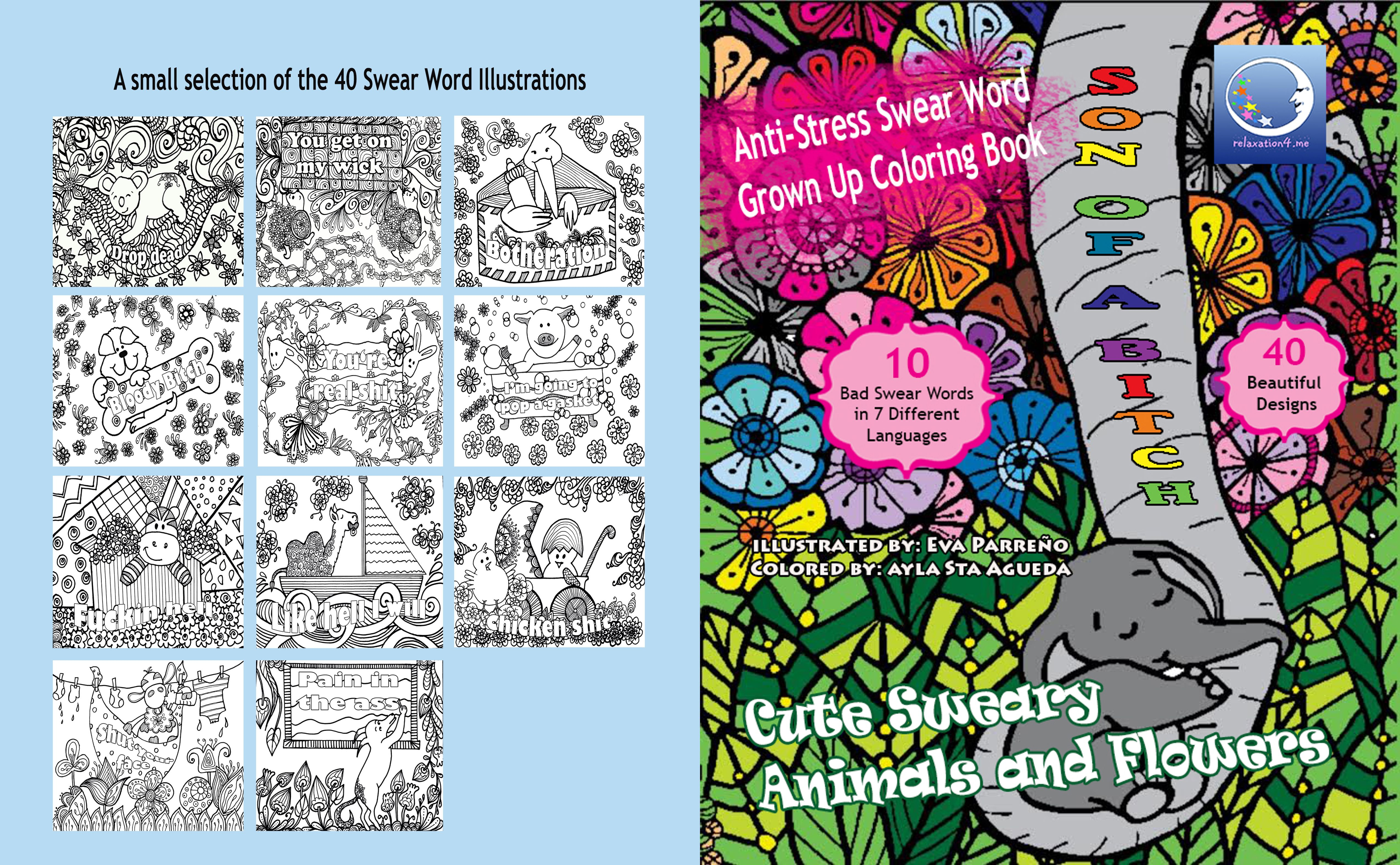 Pin On Free Anti Stress Swear Word Adult Coloring Book Printables Sweary Animals And Flowers Diy Art Therapy