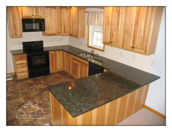 Granite Kitchen Countertops And Cabinets | Verde Peacock Granite On Natural  Hickory Cabinets
