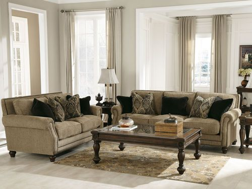 Tan Chenille Sofa Couch Loveseat Set