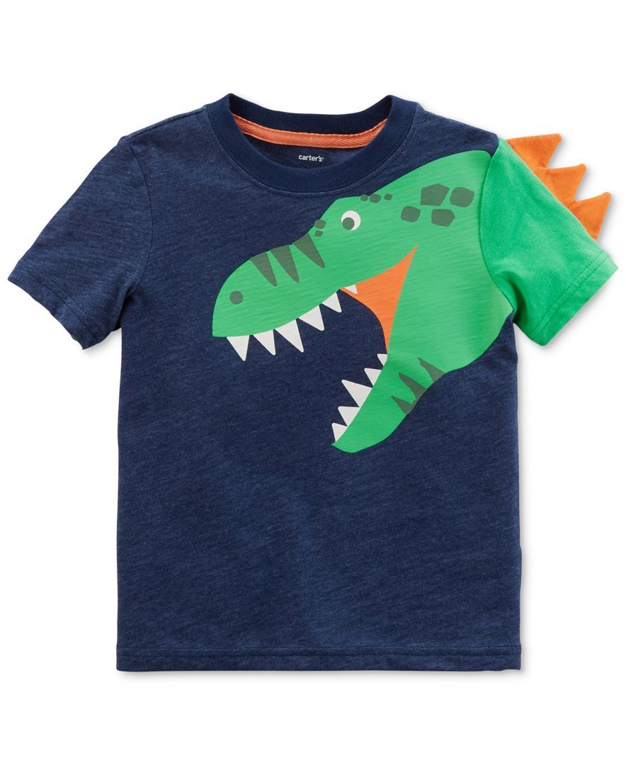 Children Baby Boys Summer Short Sleeve 3D Dinosaur Printed Cotton Blend T-shirt