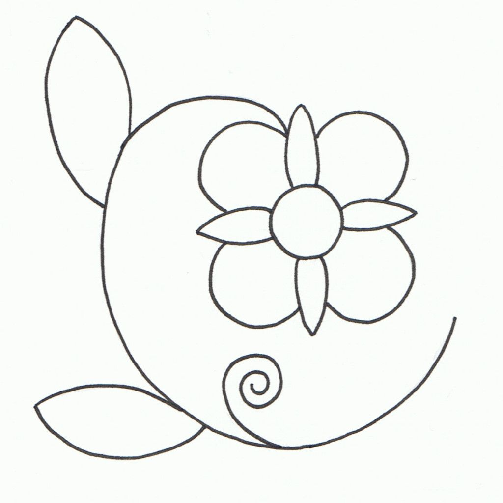 Flower Clipart Black and White Outline (With images