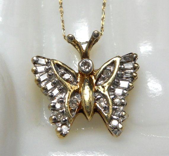 Vintage 10k Gold Diamond Butterfly Necklace Etsy Bezel Set Diamond 10k Gold Chain Butterfly Necklace