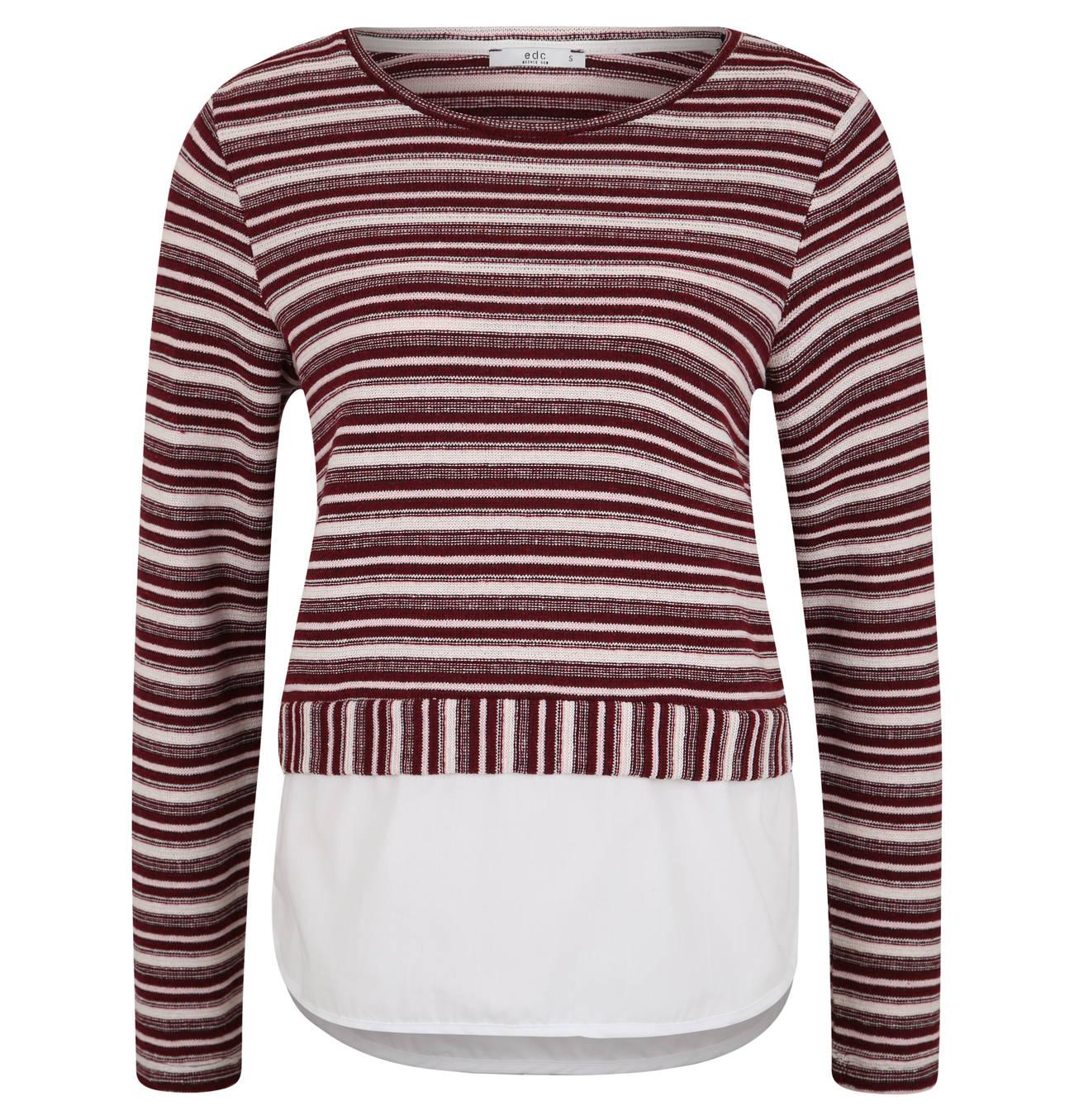 Pullover, Strick, gestreift, Blusen Besatz, verlängerte