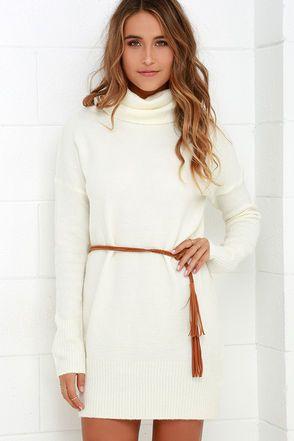 Flash A Smile Cream Turtleneck Sweater Dress Byou Style I Like