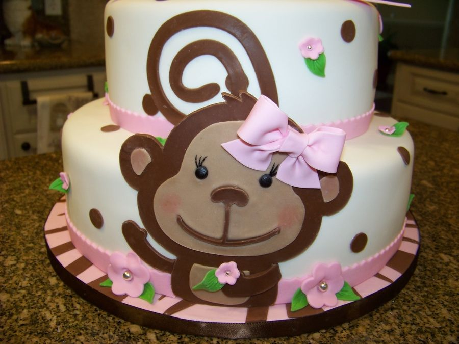 Baby Girl Monkey Cakes Monkey Themed Baby Shower Cake For A Baby